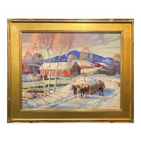 James King Bonnar Winter Landscape Oil Painting with Covered Bridge & Oxen
