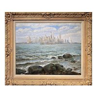 (William) Francis Vandeveer Kughler Oil Painting, View of New York City