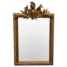 Giltwood Framed Wall Mirror with Carved Crest