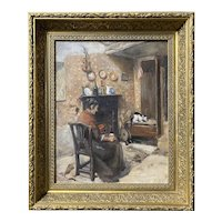Ellen Starbuck Interior Oil Painting Genre Scene with Woman & Cat By The Fire