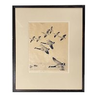Frank Weston Benson Pencil Signed Print with Canada Geese