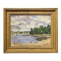 Leslie DeMuth Lakeside Oil Painting, Breezy Morning 1989