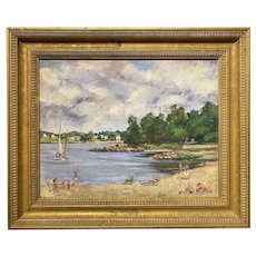 Leslie DeMuth Lakeside Oil Painting, Breezy Morning 1989