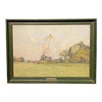 Paul Emile Lecomte Impressionist Watercolor Painting with Cows, La Roussière