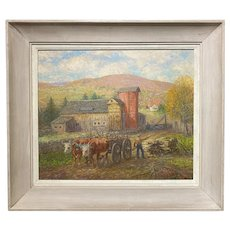 Winfield Scott Clime Impressionist Landscape Oil Painting, The Red Silo, Vermont