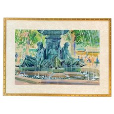 Charles Demetropoulos Watercolor Painting of Boston Public Garden Fountain 1946