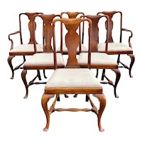 Set of Six 19th-20th Century Queen Anne Style Mahogany Dining Chairs