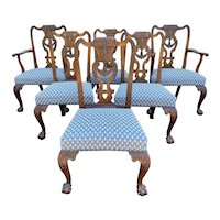 Set of Six Georgian Heavily Carved Mahogany Chippendale Dining Chairs