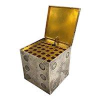 Hermès Silver & Gold Plated Die Form Cigarette Box circa 1940's