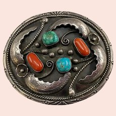Phil Chapo Native American Navajo Silver Belt Buckle with Coral & Turquoise