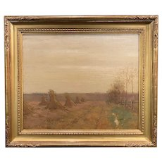 Bruce Crane Tonalist Autumn Landscape Oil Painting, Haystacks