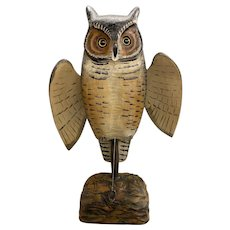 Mike Borrett Polychrome Folk Art Carved Wooden Great Horned Owl Decoy