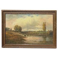 Paul R. Koehler Pastel Landscape Painting With Animals Grazing 1900