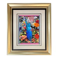 Peter Max Mixed Media with Acrylic Painting, Land of the Free, Home of the Brave