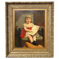 William Penn Morgan 19th Century Portrait of a Young Girl with Book