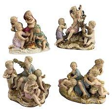 "Meissen ""Four Seasons"" Set of 4 Porcelain Cherub Figurines, Kaendler circa 1850s"