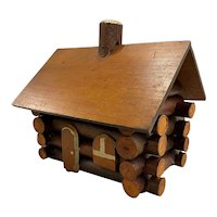 Vintage Rustic Adirondack Folk Art Miniature Log House or Cabin