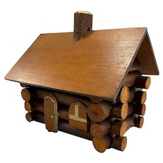 Vintage Rustic Adirondack Folk Art Miniature Log House or Cabin