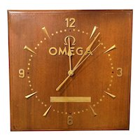 Omega Mid Century Modern Wooden Wall Advertising Clock by Glo-Dial