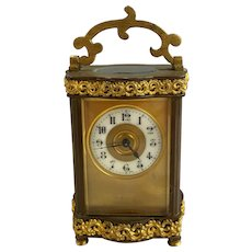 French Louis XV Doucine Style Brass & Gilt Ormolu Carriage Clock with Key