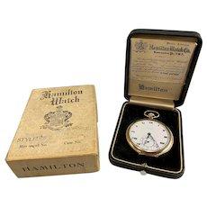 Hamilton 17 Jewel Gold Filled Gentleman's Pocket Watch with Original Case & Sales Box