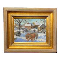 Winfield Scott Clime NY Winter Landscape Oil Painting with Oxen, Off to Work 1953