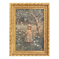 John George Brown Watercolor Painting of a Young Girl in the Woods 1890