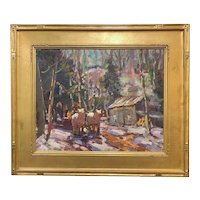 Thomas R. Curtin Winter Landscape, Working The Team, Gates Sugar House, Cambridge VT