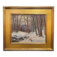 Thomas R. Curtin Winter Landscape Oil Painting, Woodland Brook