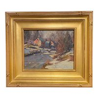 Thomas R. Curtin Winter Landscape Oil Painting, Winter Farm on The Stream