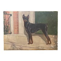Frederick Mortimer Lamb Dog Portrait Oil Painting of a Doberman