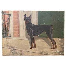 Frederick Mortimer Lamb Dog Portrait Oil Painting of a Doberman