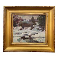 Thomas R. Curtin Winter Landscape, Montgomery Covered Bridge, Waterville  VT