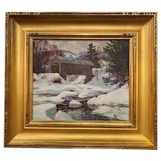 Thomas R. Curtin Winter Landscape, Montgomery Covered Bridge, Waterville  VT