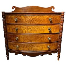 Sheraton Swell Front Cherrywood and Bird's-Eye Maple Four-Drawer Chest