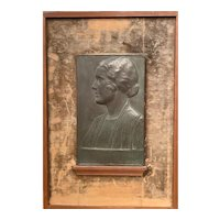George H Borst Relief Cast Mounted Bronze Portrait Profile of a Woman, Julia, 1928