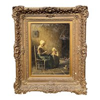 Bernard Johan De Hoog Interior Genre Scene Oil Painting of Mother & Child