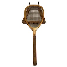 Rare Franklin Model Flat Top Tennis Racket by Greenhough & Boardman for Peck & Snyder, NY pat.1884