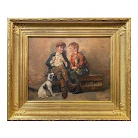 John George Brown Genre Oil Painting, Shoeshine Boys with a Dog 1897
