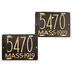 Pair of Antique Massachusetts Motorcycle Steel License Plates 1919