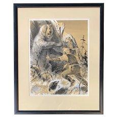 Gene (Charles Eugene) Glebe Watercolor Illustration of a Bear Attack