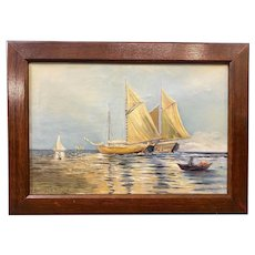 Anton Otto Fischer Coastal Marine Painting with Boats, Hawaiian Voyage