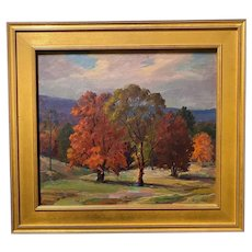 Jacob Greenleaf Seasonal Landscape Oil Painting, Autumn in New Hampshire 1944