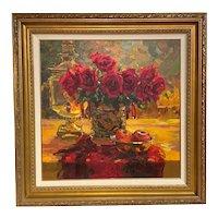 Evgeny & Lydia Baranov Oil Painting Still Life, Russian Roses