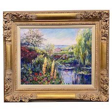 Linda Lee Impressionist Landscape Oil Painting, Giverny Gardens