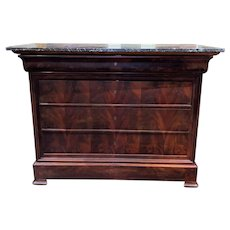 19th c French Louis Philippe Marble Top Five Drawer Chest