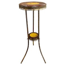 J. & J.G. Low Chelsea Tile Wooden and Brass Pedestal or Tripod Stand, circa 1884