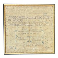 19th c John Powers / Pamelia Park Hand Wrought Family Record Sampler Berlin, MA