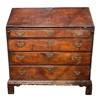 Rare 18th Century NH Maple Fall Front Desk with Nicely Scalloped Apron