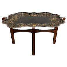 19th c English Victorian Tole Tray with Custom Wooden Stand